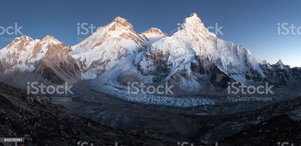 nightly view of Mount Everest, Lhotse and Nuptse stock photo