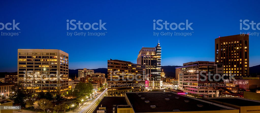 Nights blue sky over the city skyline of Boise Idaho stock photo