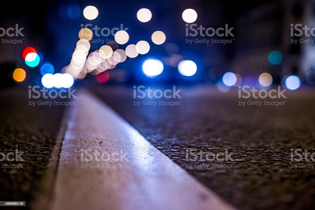 Nights lights of the big city, the night avenue stock photo