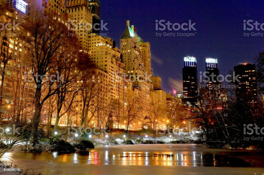 Nightscape at Central Park stock photo