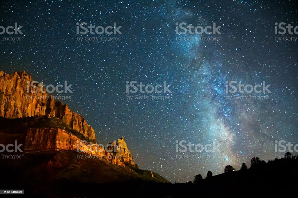 Nightscape Milky Way in Zion Canyon stock photo