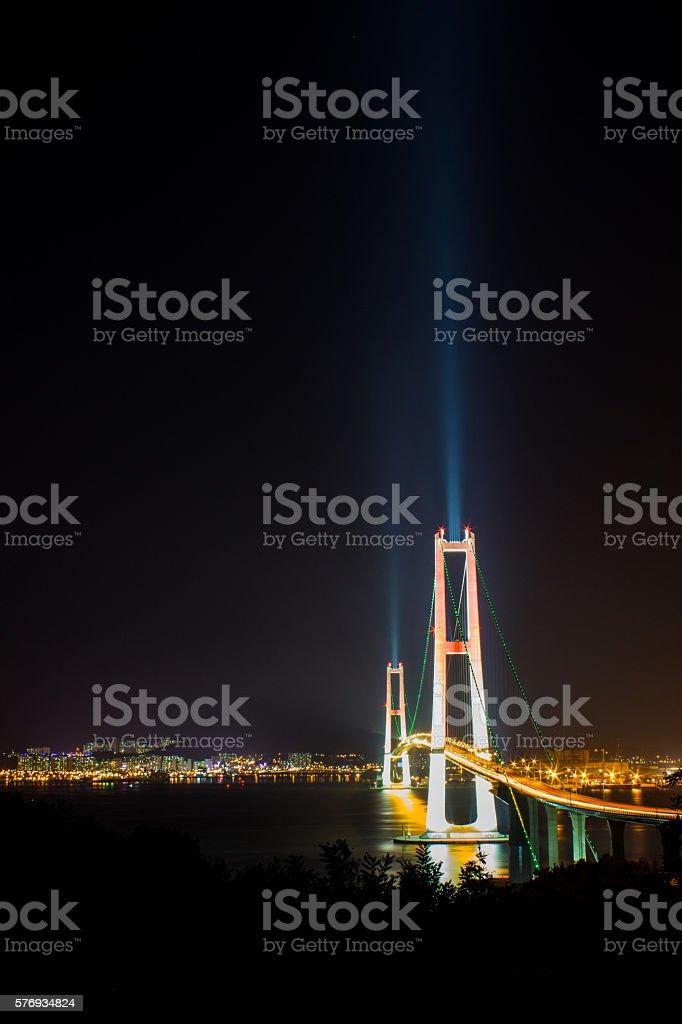 nightscape of bridge royalty-free stock photo