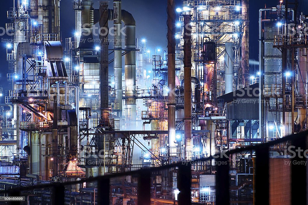 Nightscape of oil factory stock photo