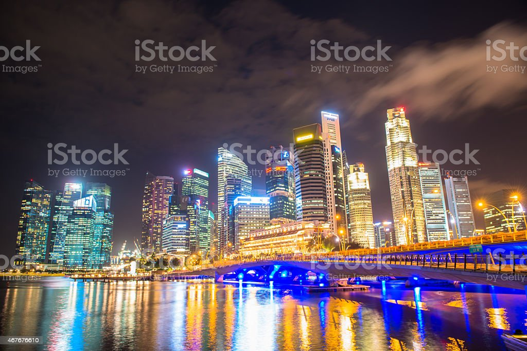 Nightscape of Singapore downtown at Marina bay stock photo