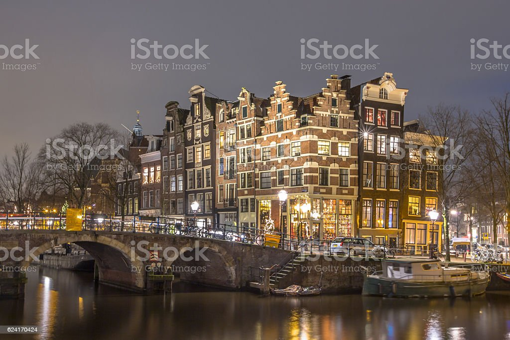 Nightscape Prinsengracht Amsterdam stock photo