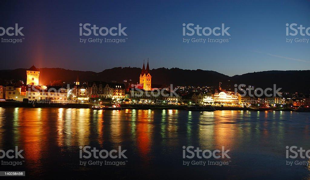 Nightscene at Rhine River, Germany stock photo