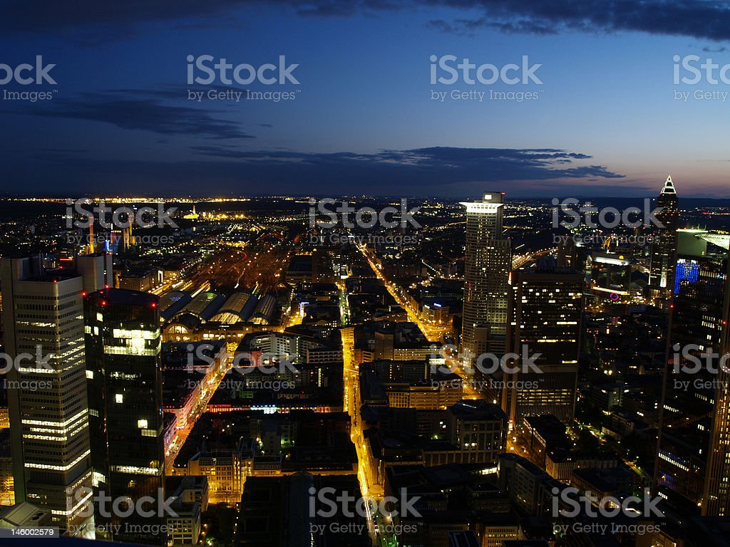 Nightscene of Frankfurt city royalty-free stock photo