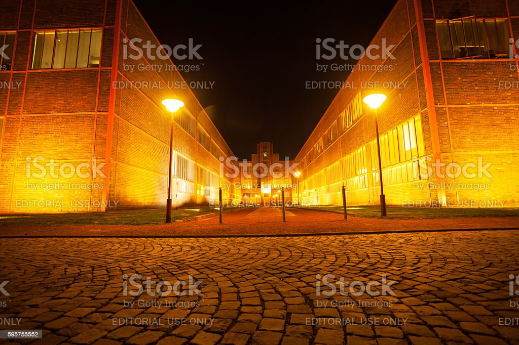 Nightshot on grounds of Zeche Zollverein stock photo