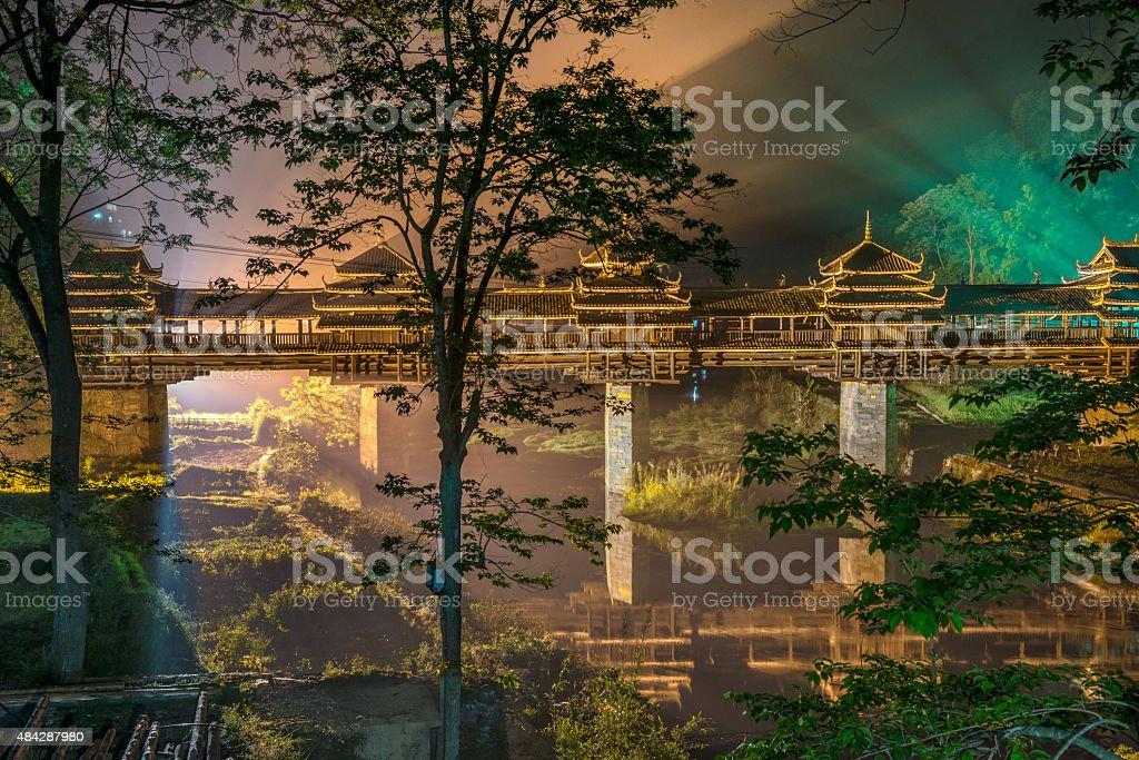 Nightshot  Wind and rain bridge  Cheng Yang , Sanjiang, China stock photo