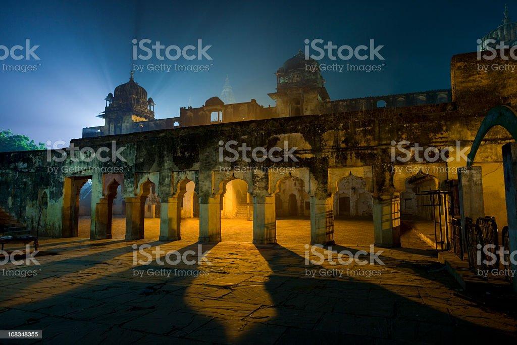 Nighttime at 16th century Indian palace ruins of Orchha royalty-free stock photo
