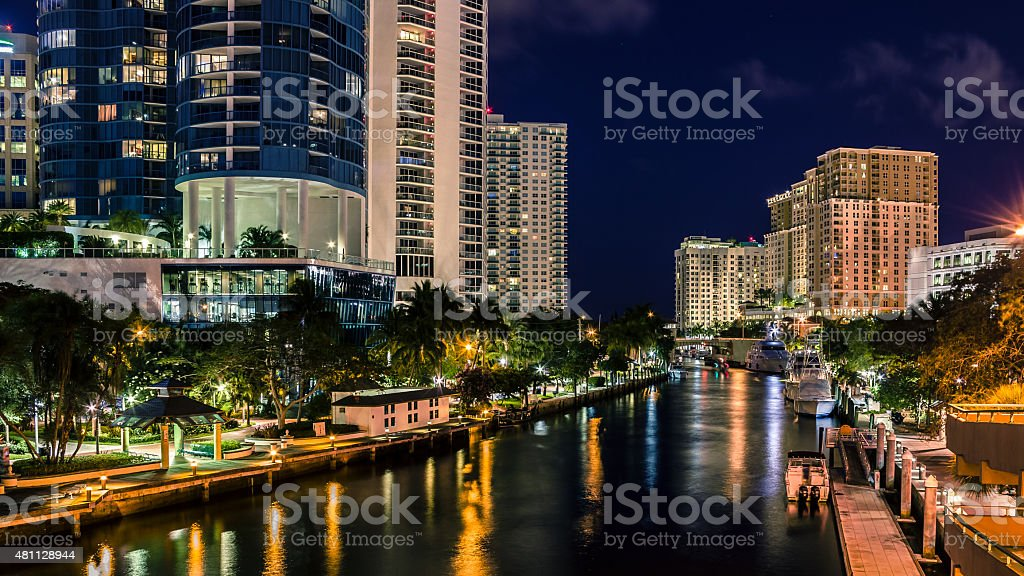 Nighttime At Riverwalk On Tarpon River In Fort Lauderdale Florida stock photo