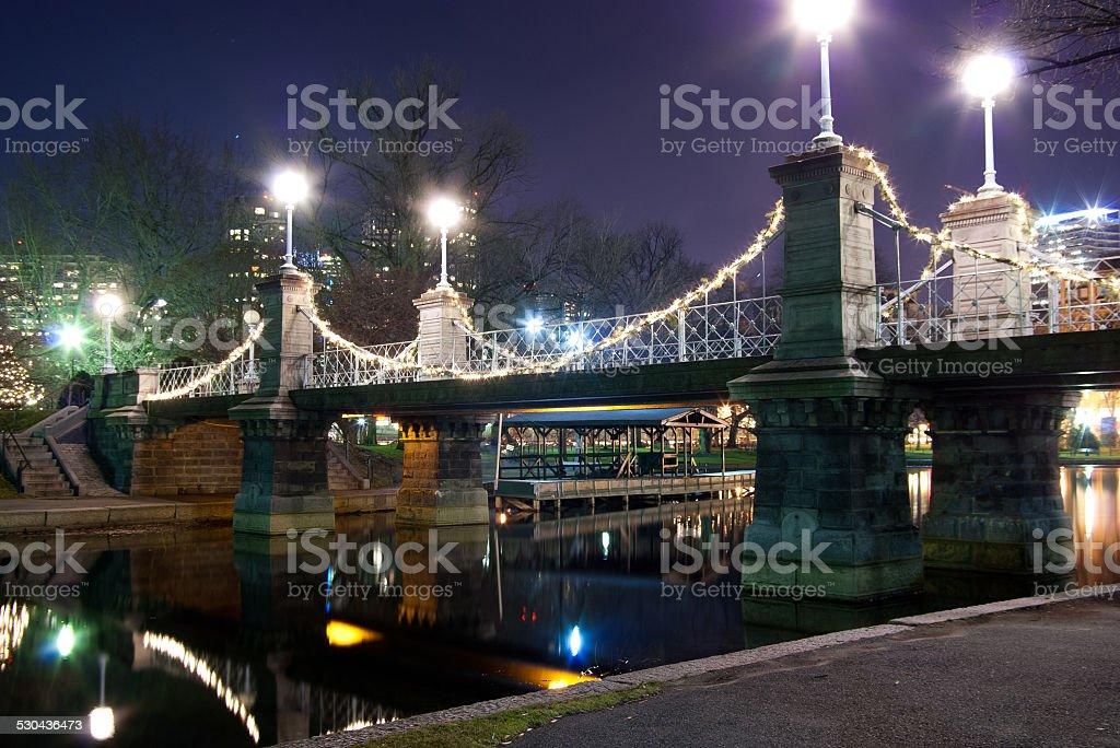 Nighttime bridge in Boston's Public Garden stock photo