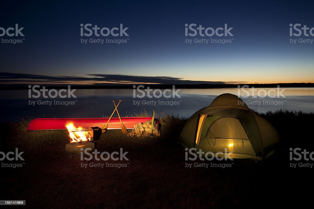 Nighttime camp scene in Riding Mountain National Park royalty-free stock photo