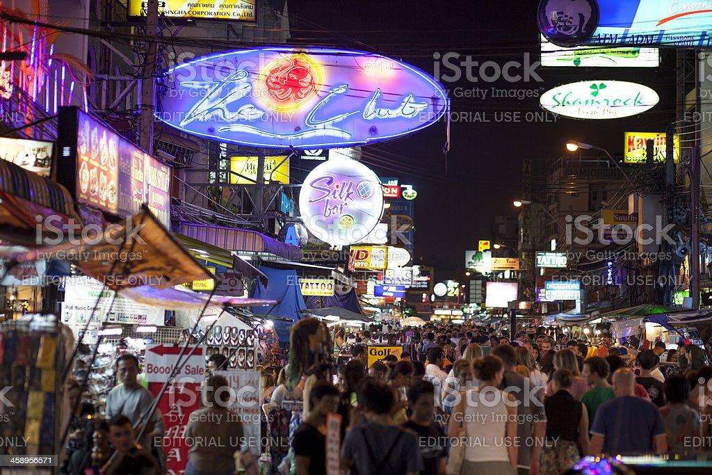 Nighttime crowd at Khao San Road in Bangko stock photo