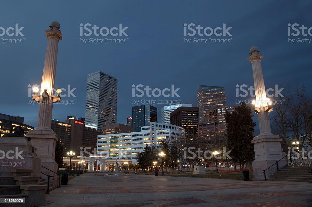 Nighttime downtown Denver Colorado Greek Theater city stock photo