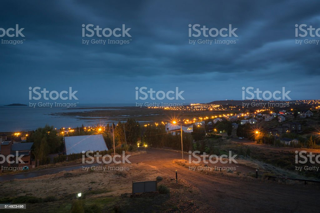 Nighttime in El Calafate, Argentina stock photo