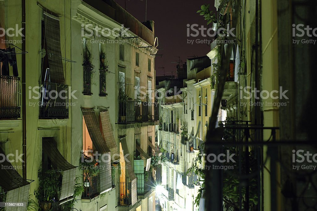 Nighttime in the old city of Barcelona, Spain. royalty-free stock photo