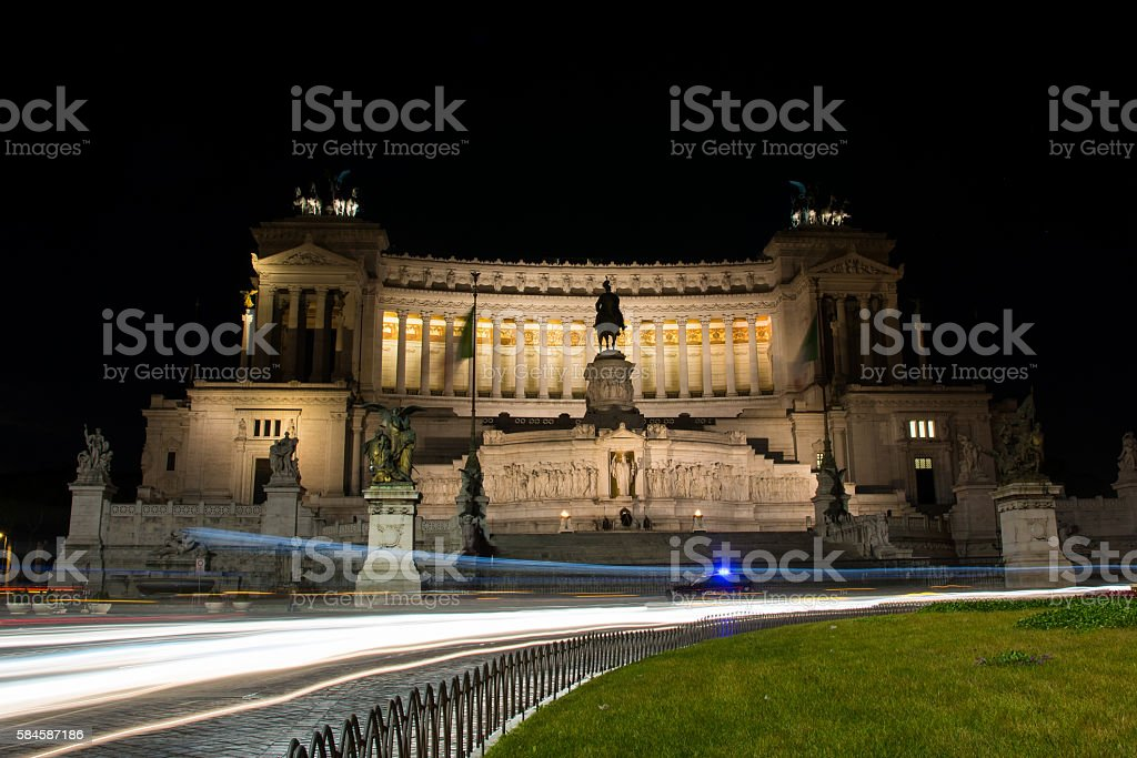 Nighttime Long Exposure Altar of Fatherland from Piazza Venezia stock photo