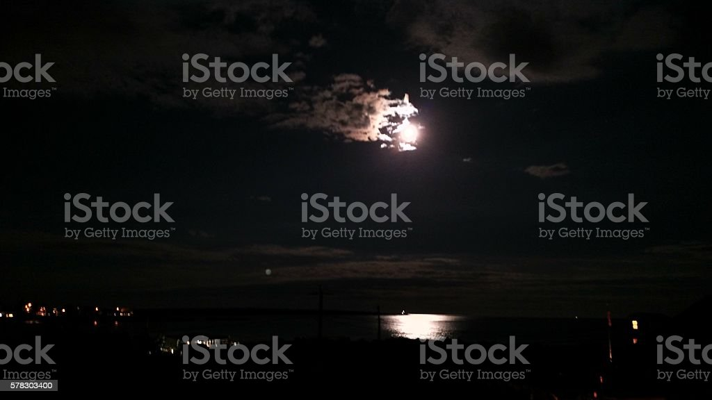 Nighttime moon reflecting off the Ocean stock photo