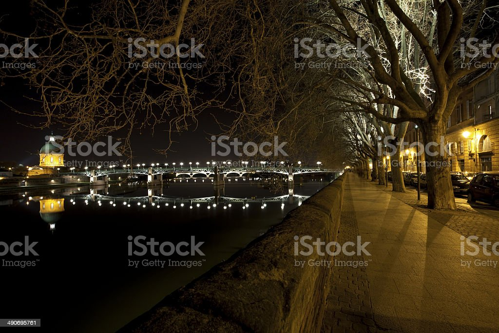 Nighttime on the promenade in Toulouse stock photo
