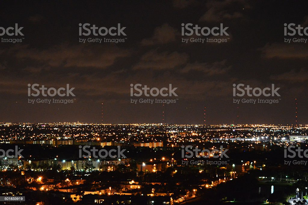 Nighttime panoramic city skyline stock photo
