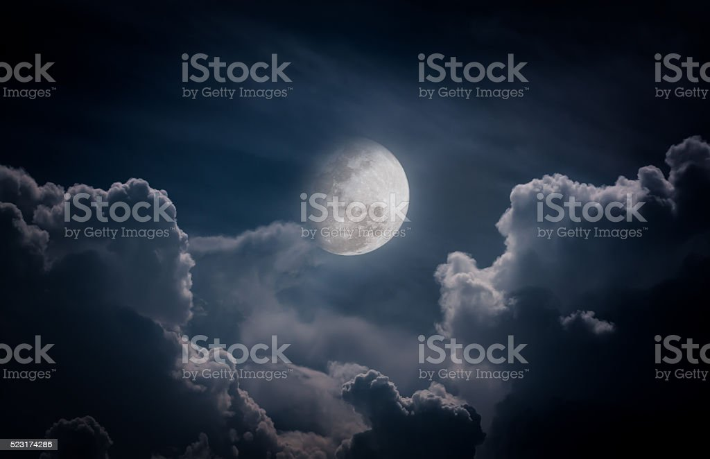 Nighttime sky with clouds, full moon would make great background. stock photo