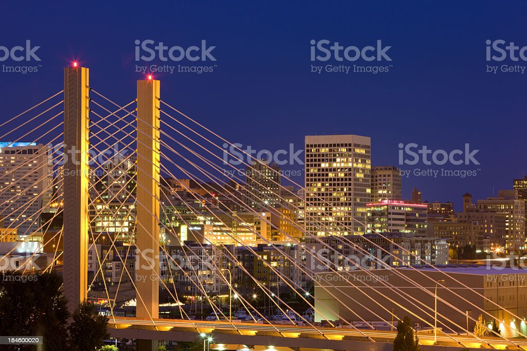 Nighttime skyline bridge view on Tacoma, Washington stock photo