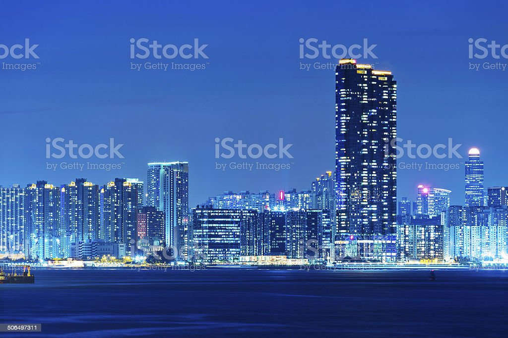 Nighttime skyline in Kowloon, Hong Kong stock photo