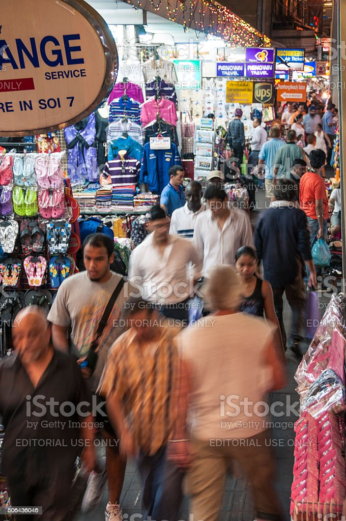Nighttime Street Market On Sukhumvit Road In Bangkok, Thailand stock photo