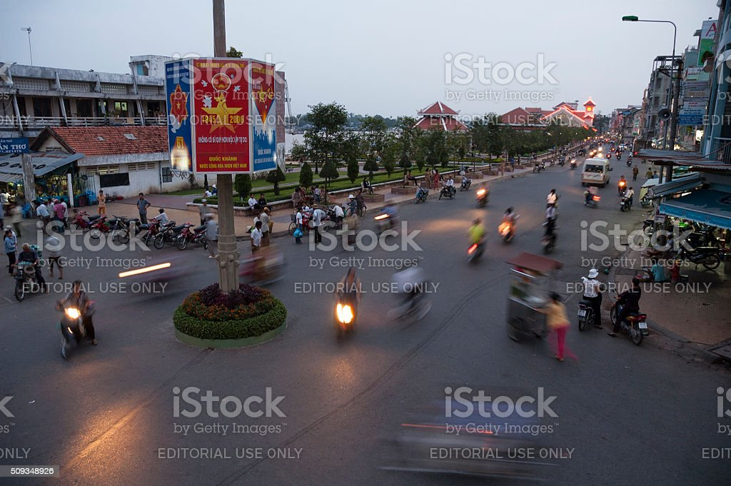 Nighttime Street Scene In Can Tho, Vietnam stock photo