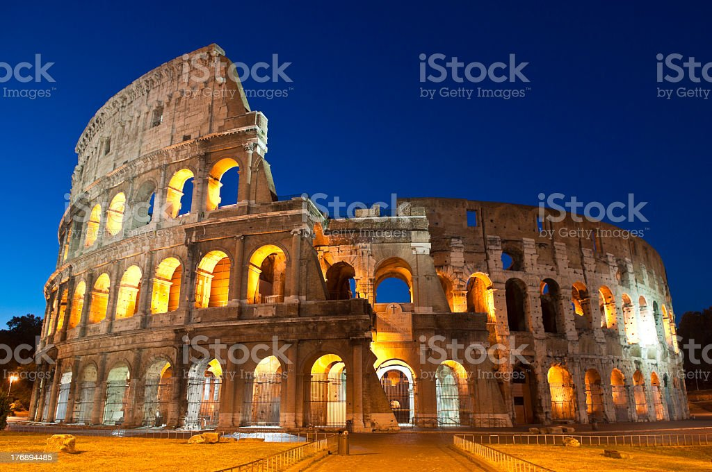 Nighttime view of the Colosseum in Rome royalty-free stock photo