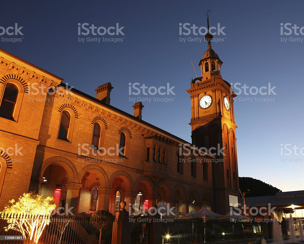 Nighttime view of the Customs House in Newcastle, Australia stock photo