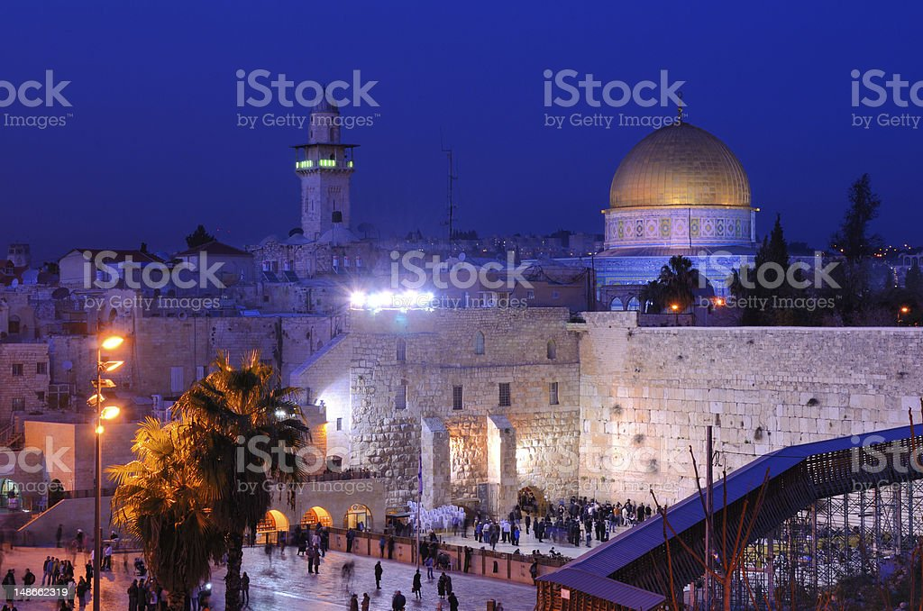 Nighttime view of Western Wall and Dome of the Rock stock photo
