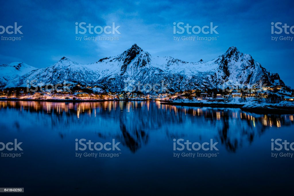 Nighttime view over Svolvaer in the Lofoten archipel, Norway stock photo