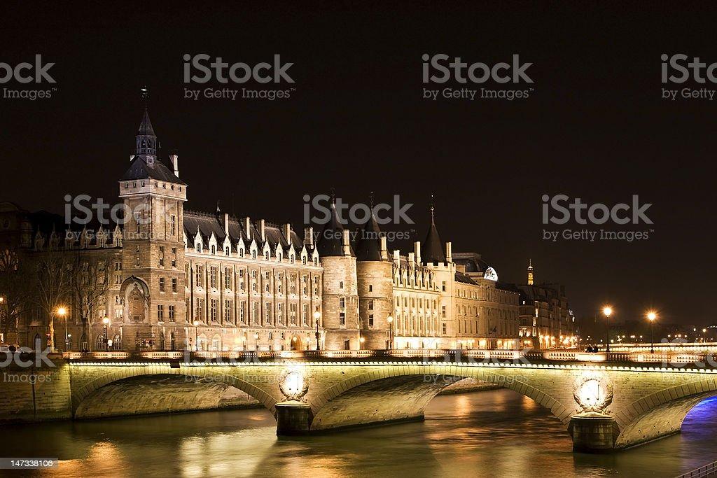 night-view of Bastille Prison stock photo