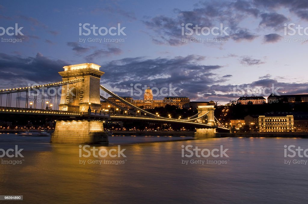 Nightview of Chain Bridge in Budapest royalty-free stock photo