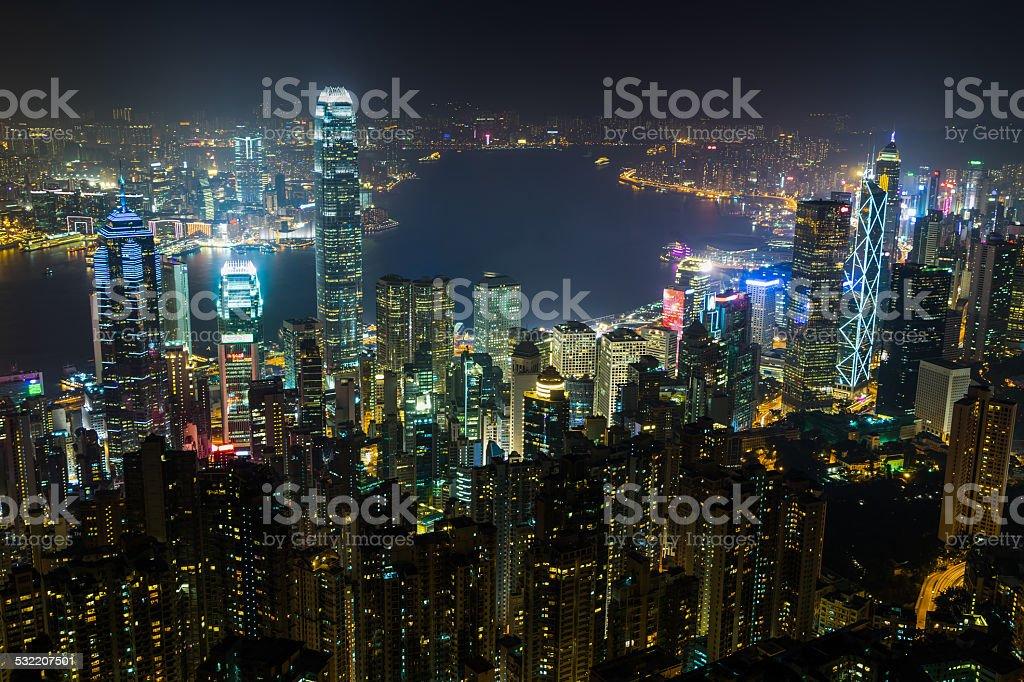 Nightview of Hong Kong stock photo