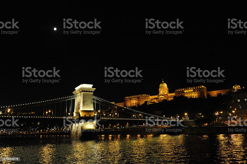 nightview of the budapest castle stock photo