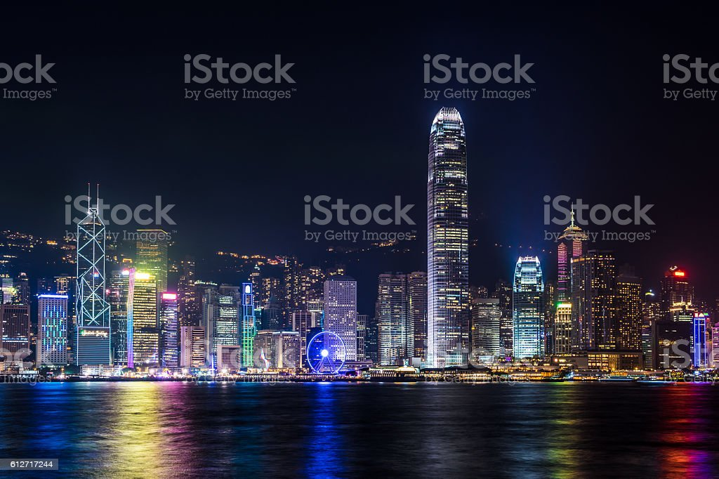 Nightview of Victoria Harbour in Hong Kong stock photo