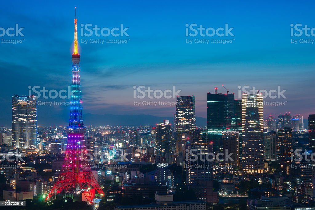 night-view with tokyo tower stock photo