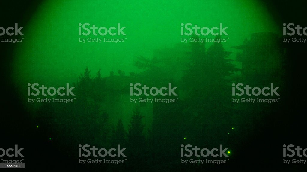 Nightvision view of a building and pines stock photo