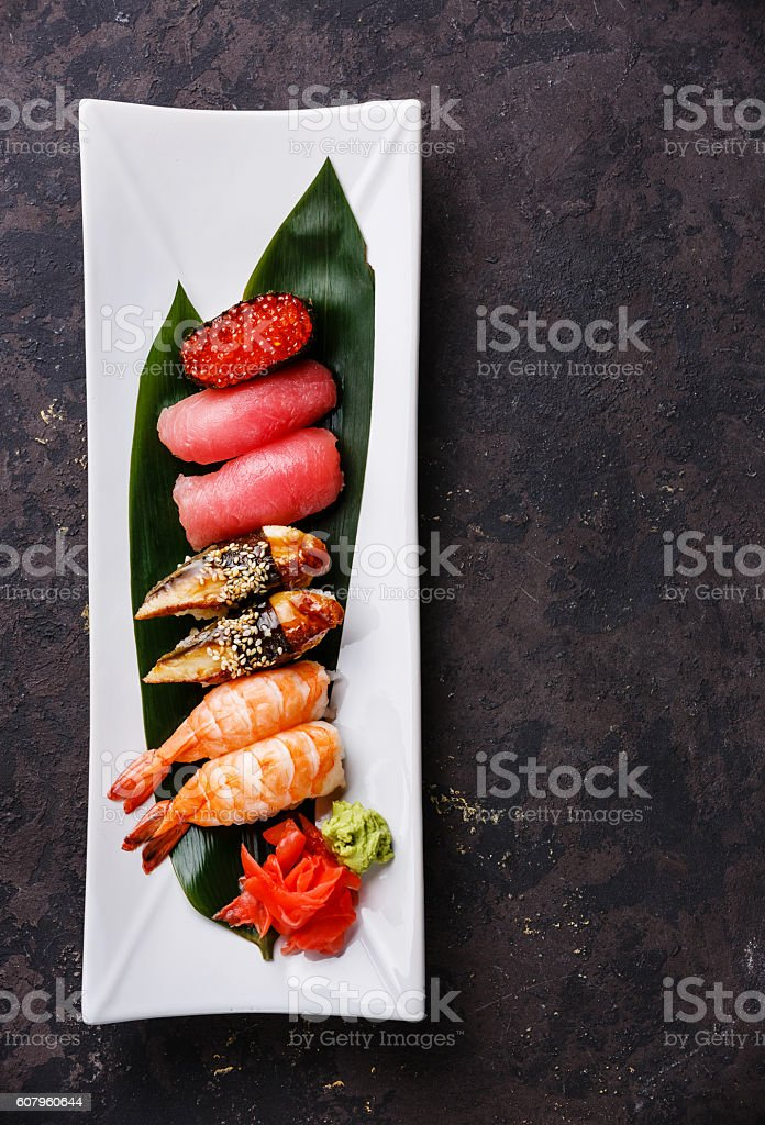Nigiri and Gunkan sushi set stock photo