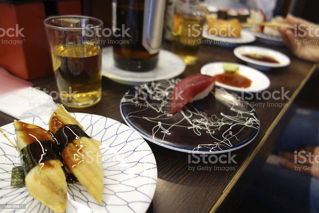 Nigiri Sushi in Authentic Japanese Restaurant stock photo
