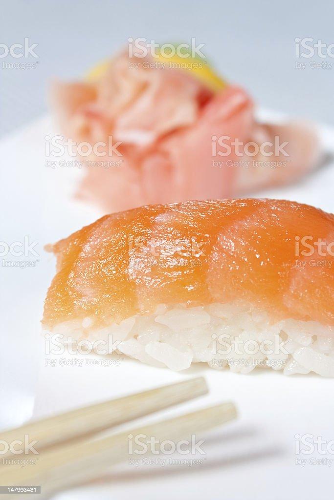Nigiri Sushi with Salmon royalty-free stock photo