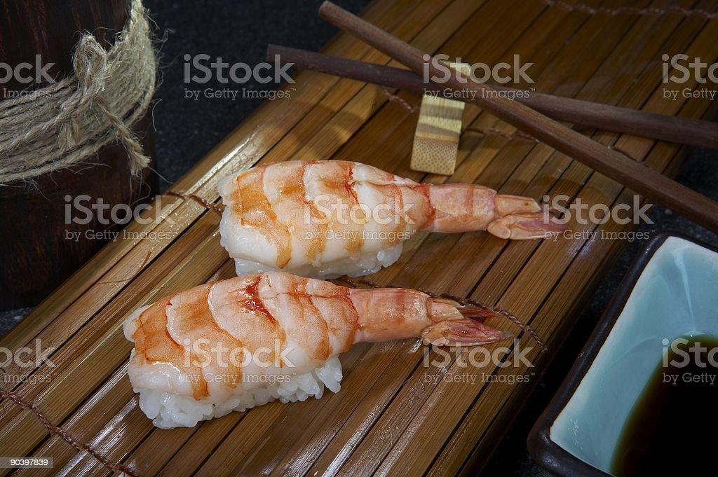 Nigiri sushi with shrimps royalty-free stock photo