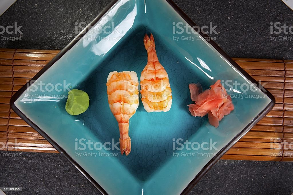 Nigiri sushi with shrimps royalty-free stock photo