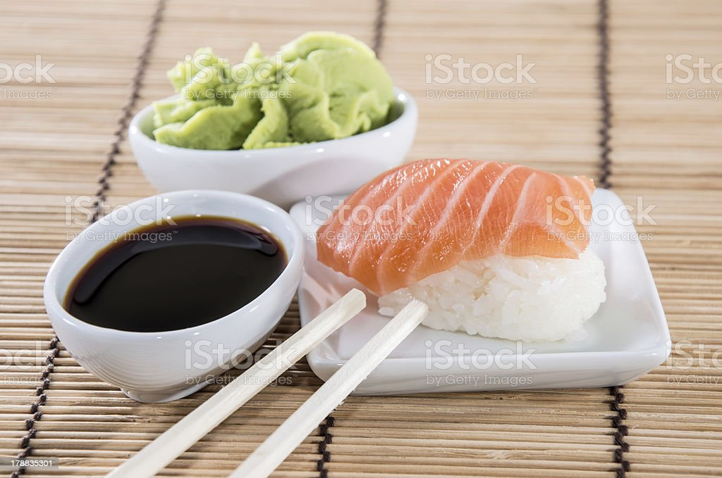 Nigiri Sushi with Soy Sauce and Wasabi royalty-free stock photo