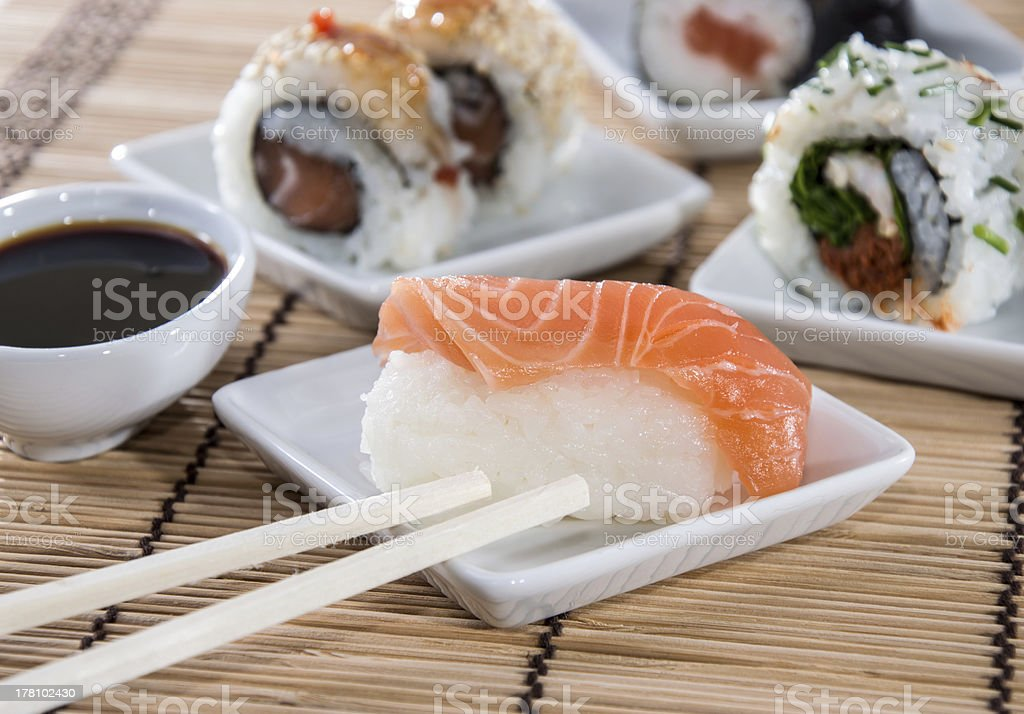 Nigiri Sushi with sticks and Soy Sauce royalty-free stock photo