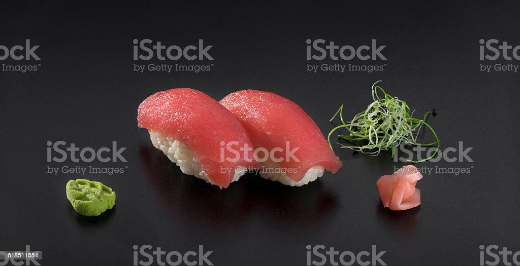 Nigiri sushi with tuna and wasabi stock photo