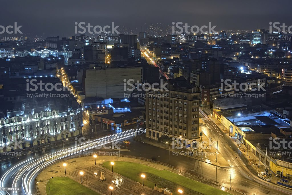 Nigth view on city center of Lima, Peru stock photo